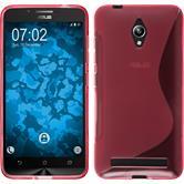 Silikon Hülle Zenfone Go (ZC500TG) S-Style pink + 2 Schutzfolien