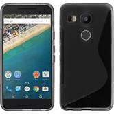 Silikon Hülle Nexus 5X S-Style grau + 2 Schutzfolien