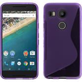 Silikon Hülle Nexus 5X S-Style lila + 2 Schutzfolien