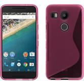 Silikon Hülle Nexus 5X S-Style pink + 2 Schutzfolien