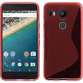 Silikon Hülle Nexus 5X S-Style rot + 2 Schutzfolien