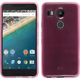 Silikon Hülle Nexus 5X transparent rosa + 2 Schutzfolien