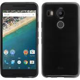Silikon Hülle Nexus 5X transparent schwarz + 2 Schutzfolien