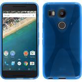 Silikon Hülle Nexus 5X X-Style blau + 2 Schutzfolien