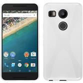 Silikon Hülle Nexus 5X X-Style weiß + 2 Schutzfolien