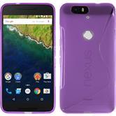 Silikon Hülle Nexus 6P S-Style lila + 2 Schutzfolien