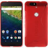 Silikon Hülle Nexus 6P S-Style rot + 2 Schutzfolien