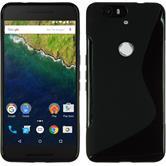 Silikon Hülle Nexus 6P S-Style schwarz + 2 Schutzfolien