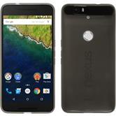 Silikon Hülle Nexus 6P transparent schwarz + 2 Schutzfolien