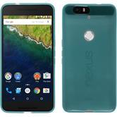 Silikon Hülle Nexus 6P transparent türkis + 2 Schutzfolien