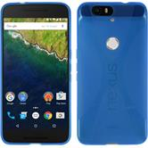 Silikon Hülle Nexus 6P X-Style blau + 2 Schutzfolien