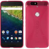 Silikon Hülle Nexus 6P X-Style pink + 2 Schutzfolien