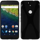 Silikon Hülle Nexus 6P X-Style schwarz + 2 Schutzfolien