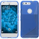 Silikon Hülle Pixel S-Style blau + 2 Schutzfolien