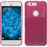 Silikon Hülle Pixel S-Style pink + 2 Schutzfolien