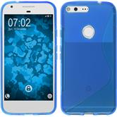 Silikon Hülle Pixel XL S-Style blau + 2 Schutzfolien