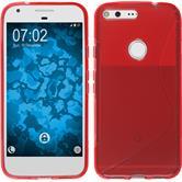 Silikon Hülle Pixel XL S-Style rot + 2 Schutzfolien