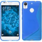 Silikon Hülle Desire 10 Lifestyle S-Style blau + 2 Schutzfolien