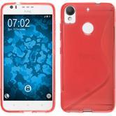 Silikon Hülle Desire 10 Lifestyle S-Style rot + 2 Schutzfolien