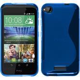 Silikon Hülle Desire 320 S-Style blau + 2 Schutzfolien