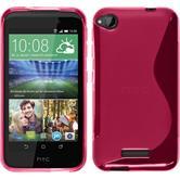 Silikon Hülle Desire 320 S-Style pink + 2 Schutzfolien