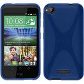 Silikon Hülle Desire 320 X-Style blau + 2 Schutzfolien