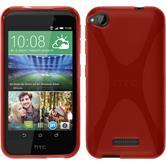 Silikon Hülle Desire 320 X-Style rot + 2 Schutzfolien
