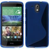 Silikon Hülle Desire 326G S-Style blau + 2 Schutzfolien
