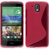Silikon Hülle Desire 326G S-Style pink + 2 Schutzfolien
