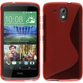 Silikon Hülle Desire 326G S-Style rot + 2 Schutzfolien