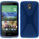 Silikon Hülle Desire 326G X-Style blau + 2 Schutzfolien