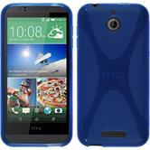 Silikon Hülle Desire 510 X-Style blau + 2 Schutzfolien