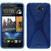 Silikon Hülle Desire 516 X-Style blau + 2 Schutzfolien
