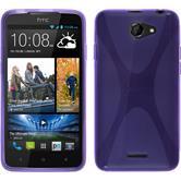 Silikon Hülle Desire 516 X-Style lila + 2 Schutzfolien