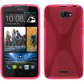 Silikon Hülle Desire 516 X-Style pink + 2 Schutzfolien