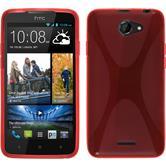 Silikon Hülle Desire 516 X-Style rot + 2 Schutzfolien
