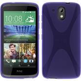 Silikon Hülle Desire 526G+ X-Style lila + 2 Schutzfolien