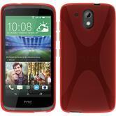 Silikon Hülle Desire 526G+ X-Style rot + 2 Schutzfolien