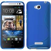 Silikon Hülle Desire 616 S-Style blau + 2 Schutzfolien