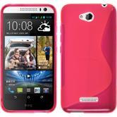 Silikon Hülle Desire 616 S-Style pink + 2 Schutzfolien