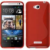 Silikon Hülle Desire 616 S-Style rot + 2 Schutzfolien