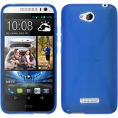 Silikon Hülle Desire 616 X-Style blau + 2 Schutzfolien