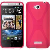 Silikon Hülle Desire 616 X-Style pink + 2 Schutzfolien