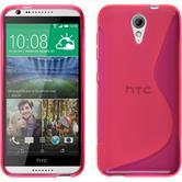 Silikon Hülle Desire 620 S-Style pink + 2 Schutzfolien