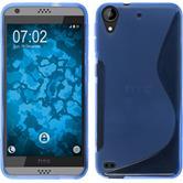 Silikon Hülle Desire 630 S-Style blau + 2 Schutzfolien