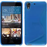 Silikon Hülle Desire 728 S-Style blau + 2 Schutzfolien