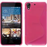 Silikon Hülle Desire 728 S-Style pink + 2 Schutzfolien