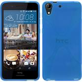 Silikon Hülle Desire 728 X-Style blau + 2 Schutzfolien