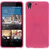 Silikon Hülle Desire 728 X-Style pink + 2 Schutzfolien