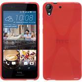 Silikon Hülle Desire 728 X-Style rot + 2 Schutzfolien